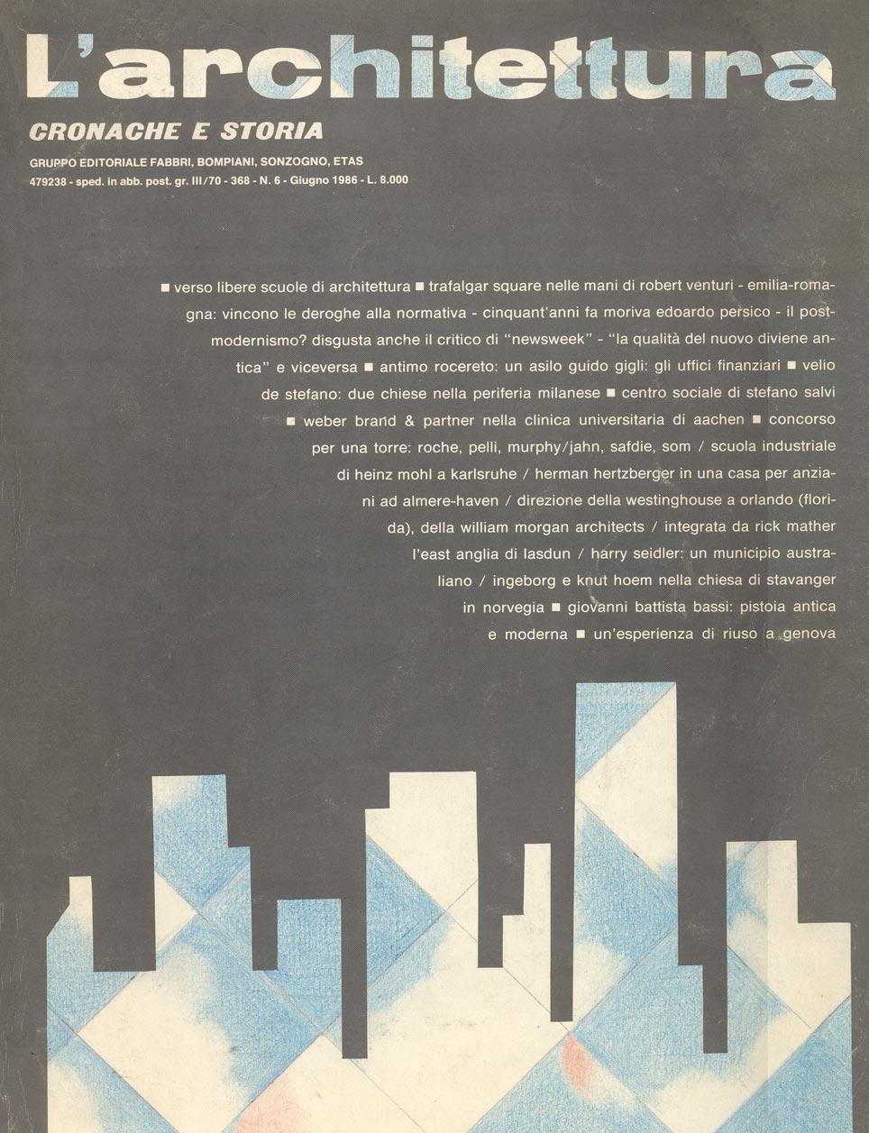 """""""Centro culturale Carlo Levi a Genzano di Roma"""", L'Architettura, Cronaca e Storia, n. 6 (giugno 1986)."""